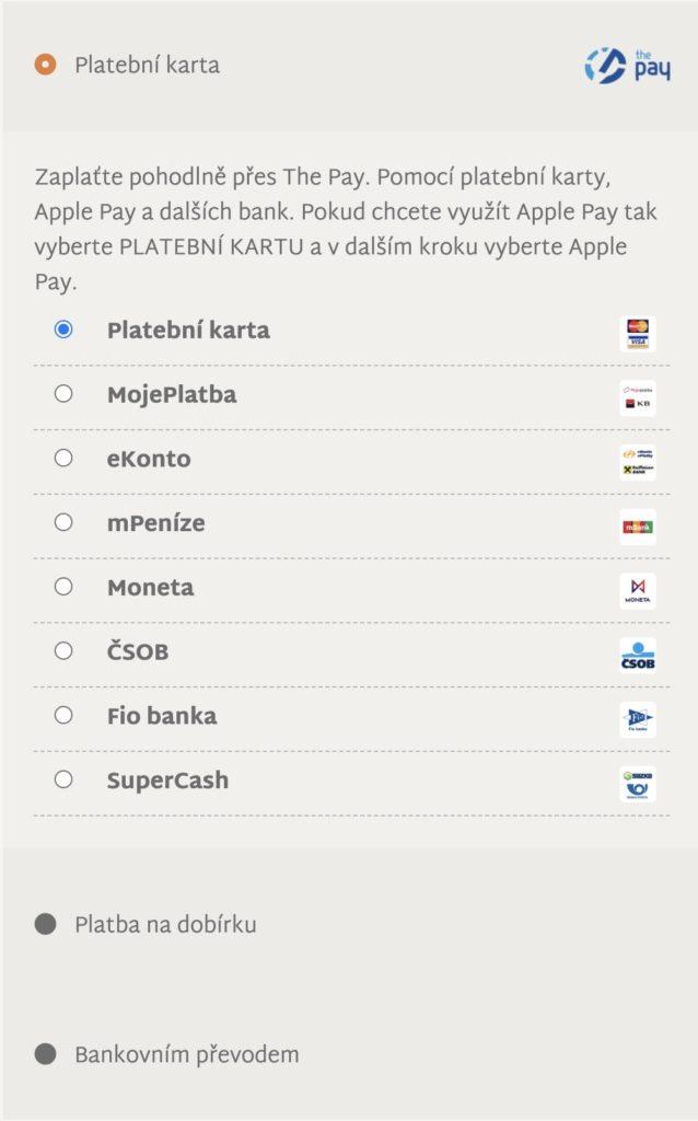 Možnosti platby na 123triko.cz